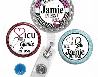 ICU Personalized Retractable ID Badge Reel with (3) Charm Magnets