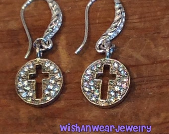 Silver Cross Earrings Dangling Drop Pierced Clear Crystals Sparkly CZs  Dainty Church Christian Confirmation Baptism Gift WishAnWearJewelry