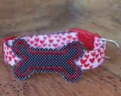 Valentine Dog Collar - Red Heart Collar with Black Tiny Dot Bone and Red Stitching