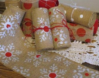 Silver Snowflake Ribbon, Burlap Garland, 5in. Wide Christmas Garland, Christmas Decor, Silver & Red Snowflake Ribbon, Holiday Decor