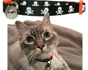 "Skulls Cat or Teacup 3/8"" Orange or Black Pet Collar"