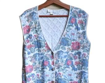 Sweater Vest Floral Print Vest Knitted Vest Button Up Sweater Vest 80s Sweater Vest Size Medium Large