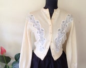 RESERVED Vintage 1950s Dalton Cashmere Cardigan with Lace Cutout