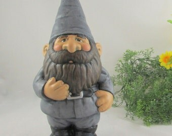 Ceramic Garden Gnome in a Grey Suit- 14 inches, hand painted lawn or garden gnome, outdoor or indoor