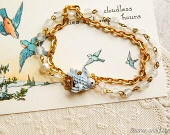 Bluebird assemblage bracelet / bluebird bracelet / vintage bluebird / assemblage jewelry / repurposed bracelet / altered jewelry / revived