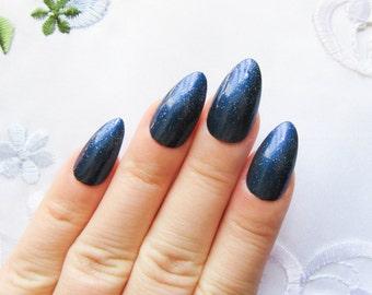 Midnight Blue Stiletto Nails, Fake Nails, Almond Nails, Acrylic Nails, Press on, Nails, Blue, Dark Blue, Nail Art, Glitter Nails
