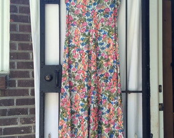 maxi dress with jacket floral pattern flowers butterflies tank dress long 60s 70s party wear Yves Jennet