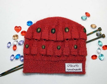 Knitted beanie, knit hat, knit scullcap, red beanie, red hat, women hat, winter hat, winter beanie, beanie with beads, fall hat, fall beanie