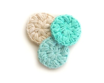 Face Scrubbies Crochet  Makeup Removers cotton scrubby Mini Washcloths Eco-friendly Set of 3