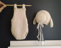 Newborn baby girl or boy, hand knitted  Romper Overall and LittleLamb Bonnet set/ Luxury yarn Photography Prop/ Baby Alpaca Romper