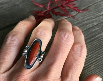 Red Jasper Ring, Sterling Silver Red Stone Ring, Vintage Inspired Romantic Jewelry, Southwestern Jewelry,  Ring Size 5.5