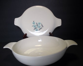 Taylor Smith Taylor Mid Century Blue Bonnet Pattern - Turquoise and Grey Versatile Shape - Tab Handled Covered Casserole
