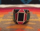 Vintage Celluloid Bakelite Folk Art Prison Ring by Bob Dodd (Size 9)