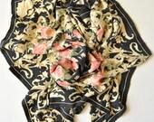 90s Ferre Floral Silk Scarf - Black Pink Roses Dark Romantic