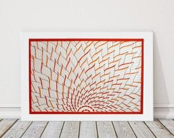 Orange Minimalist Art, Lotus Flower Wall Art, Zen Decor, Meditation Art