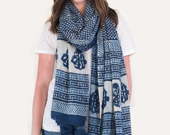 Oversized Indigo Floral Scarf, Pareo, Sarong - Hand block printed, Natural Vegetable Dyes, Pareo, Stole, Shawl