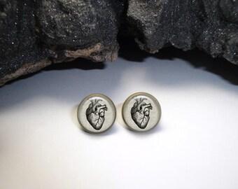 Human Heart Earrings,Heart Linen Earrings, Doctor Jewelry, Cardiologist Gift,  Human Heart Jewelry, Anatomy Earrings, heart silver studs