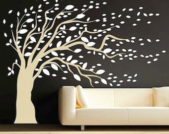 Blowing Tree Wall Mural Decal Sticker Design Breezy Windy Large Bedroom Vinyl