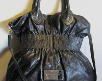 Splendid leather handbag, big designer shoulder bag; black, Coccinelle, Italy