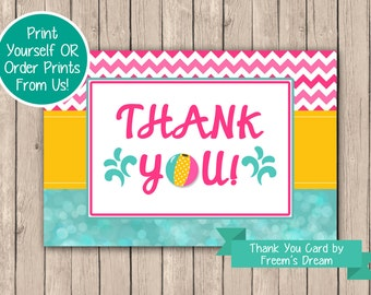 Girls Pool Party Thank You Card, Printable Pool Party Thank You Card, Pool Party Themed Birthday, Pool Party Birthday Package, BP08