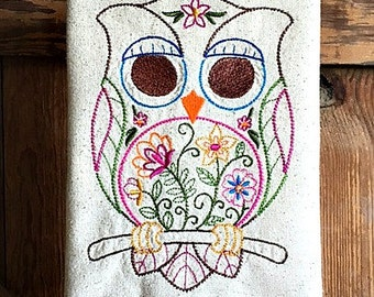 Dish Towel Vintage Style Spring Owl Tea Towel Embroidered