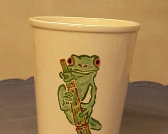 Soy candle in cup hand painted with frog on bamboo