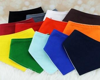 FREE US SHIPPING 13 Plain Baby Bandana Bibs - Set of 13 Solid Colors, plain bandana bib, solid bandana bib, plain drool bibs