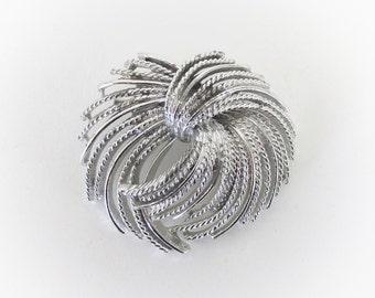 Vintage Silver Tone Fringe Pinwheel Brooch