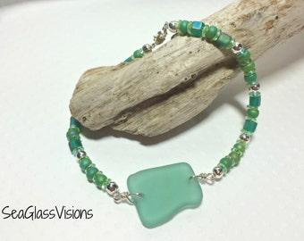 Genuine Sea Glass Bracelet, Teal Beach Glass, Beaded Bracelet, Beach Glass Bracelet, Greek Sea Glass, Sterling Silver
