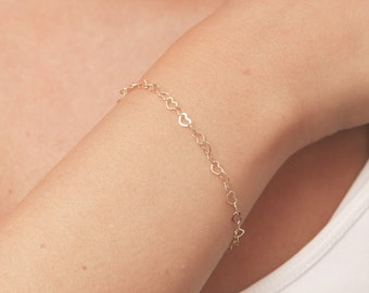 Dainty gold bracelet Delicate Gold Chain Layered Gold Filled Bracelet Bridesmaid Gift Everyday Jewelry.