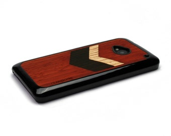 HTC One M7 Case Wood Chevron Geometric Red, HTC One Case Wood HTC One Case, Htc One Wood Case, Wood Htc One M7 Case, Htc One M7 Wood