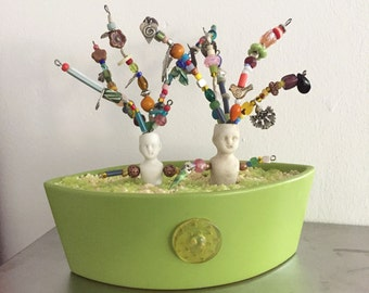 Beaded Doll, Planter, Frozen Charlotte Art, Mixed Media, Upscaled, Porcelain Doll Art, Altered Art, Ceramic, Bejeweled, Friendship