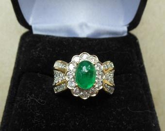 Fine 18K Cabochon Emerald and Diamond Ring, Size 6.25
