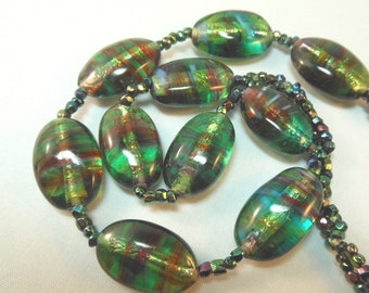 Vintage Green and Red Foil Glass Bead Necklace