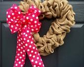 Heart Wreaths, Valentines Wreaths, Polka Dots, Pink, Burlap Heart Wreath, Love Gift, Cute Heart Wreath, Heart Door Decor, Heart Decorations