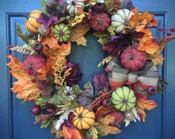 Pumpkin Wreath, Fall Wreaths, Fall Decor, Pumpkin Door Wreath, Burlap Pumpkins, Thanksgiving Wreath, Fall Decorating, Fall Leaves Wreath
