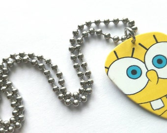 Sponge Bob Guitar Pick Necklace with Stainless Steel Ball Chain - cartoon