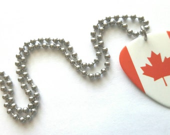 Canadian Flag Guitar Pick Necklace with Stainless Steel Ball Chain - Canada - travel