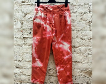 High Waisted Trousers Tie Dye Pants to fit UK size 6 or US size 4 Petite Summer Festival Clothing