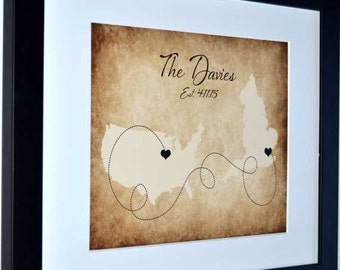 Two states long distance map art print custom wedding gift, map relationship gift, 1 year anniversary, personalized rustic wedding