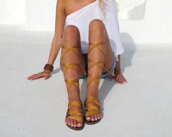 "Greek Gladiator sandals, Customizable Choose scarf laces from 20 colors and leather footbed from 6 colors  ""ATHENA"" - Free standard shipping"
