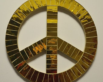 Glass Mosaic Peace Sign In Gold Mirror