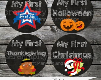 Baby Holiday Stickers, Instant Download DIY Printable Baby Milestone Stickers -Photo Prop -Gift -Baby Shower, Baby 1st Holiday Sticker