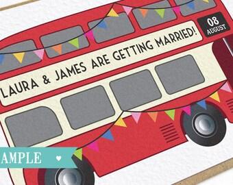 Vintage Bus Wedding Invitation - London Bus SAMPLE