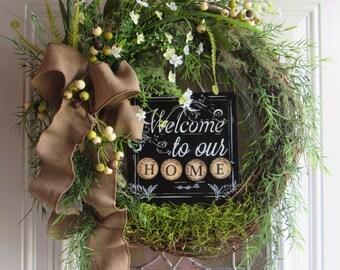 Spring/Summer Wreath, Greenery  Wreath, Welcome Wreath, Year Round Wreath, Asparagus Wreath,  Wreath, Green Wreath