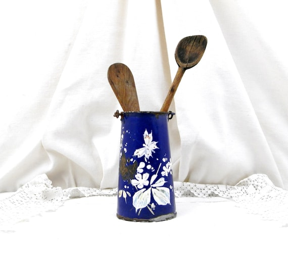 Antique French Early Enamelware Blue with White Hand Painted Flower and Butterfly Pattern Milk Pail / Churn, French Enamel Country Decor