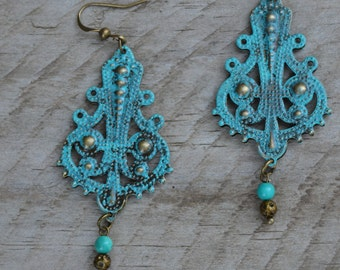Turquoise earrings, gypsy earrings bohemian earrings, filigree earrings, patina earrings turquoise drop boho earrings, gypsy jewelry
