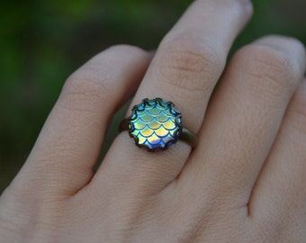 Mermaid scales ring, dragon scale ring, snake ring, snakeskin ring, Game of Thrones jewelry, iridescent scales ring