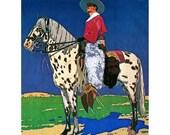 Cowboy Fabric Block - Vaquero on Appaloosa Horse w Chaps - Repro Carl Moos