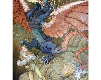 Dragon Fabric Block - Bee Man Saves Baby - Repro Frederick Richardson